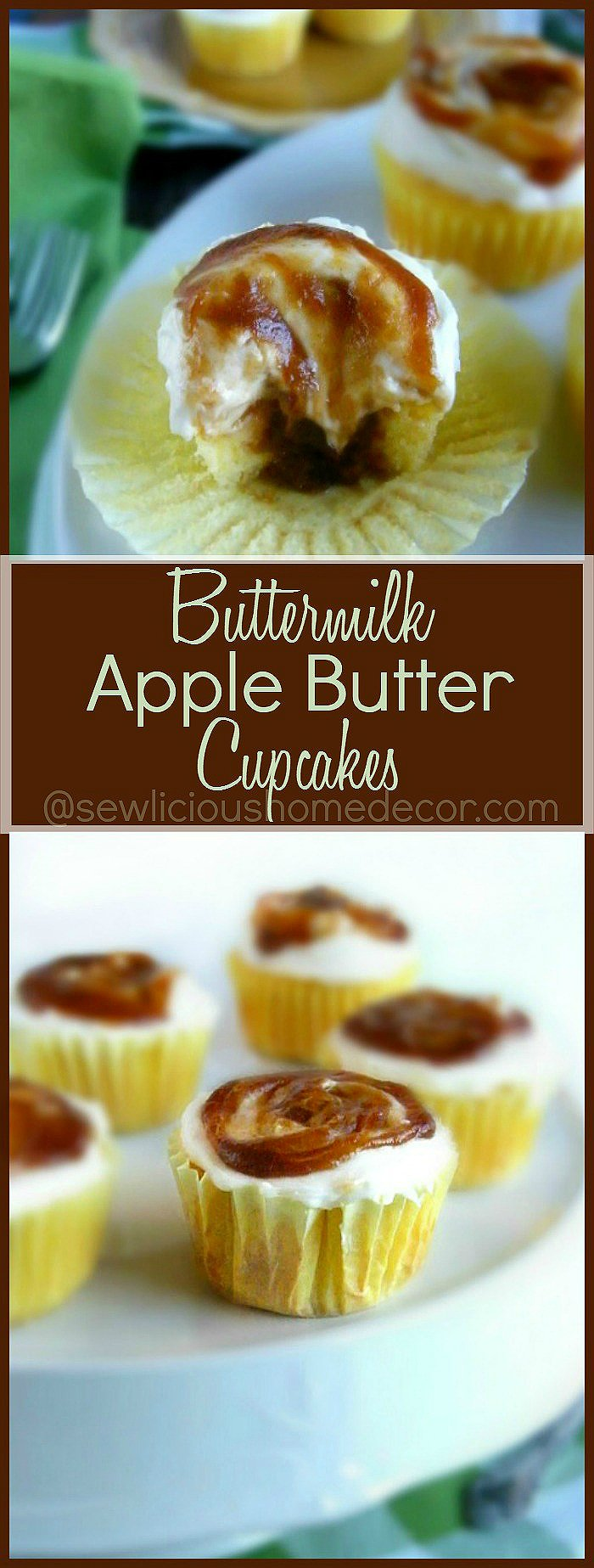 Best Homemade Apple Butter Jam Buttermilk Cupcakes with Fluffly Cream Cheese Frosting