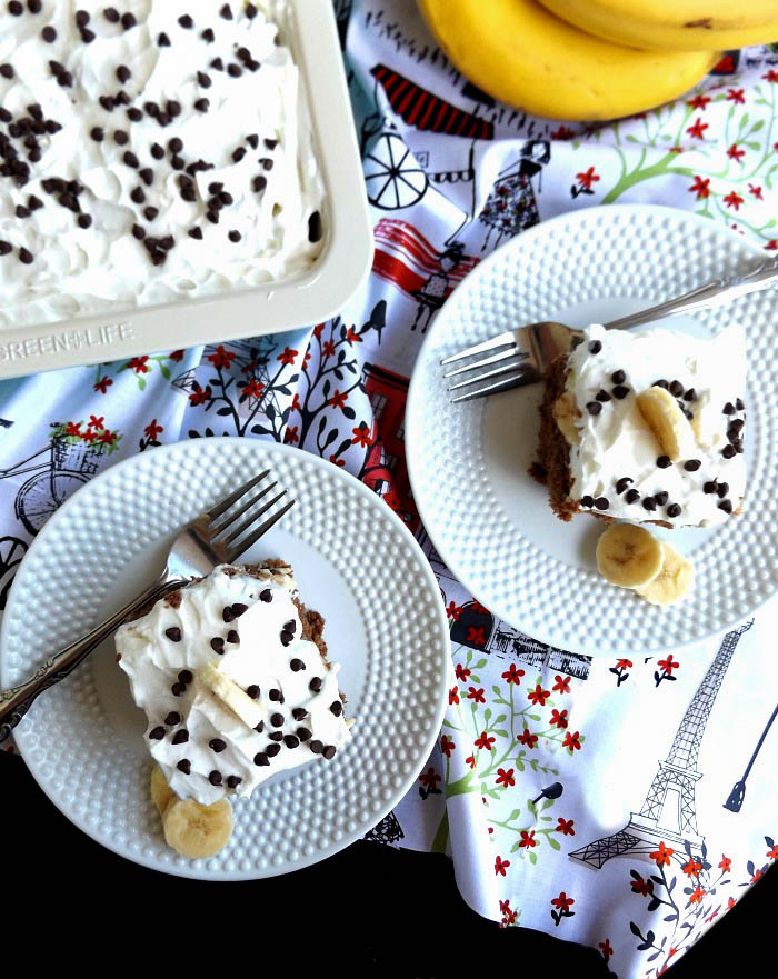 Easy Chocolate Banana Pudding Poke Cake with icing in the batter. sewlicioushomedecor.com