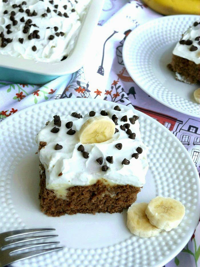 Moist Chocolate Banana Cake with Banana Pudding Poke Cake. Perfect for potlucks. sewlicioushomedecor.com