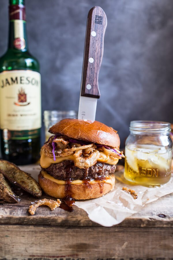 Jameson-Whiskey-Blue-Cheese-Burger-with-Guinness-Cheese-Sauce-Crispy-Onions-1