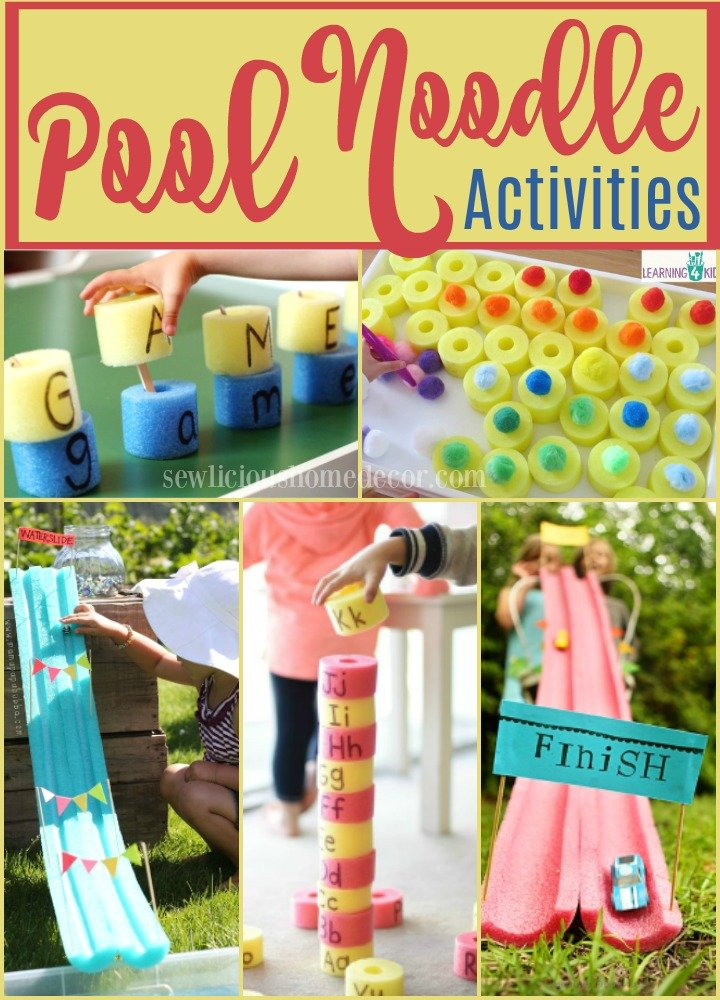 Fun and educational activities using pool noodles kids will enjoy. #water #pool #kids #activities