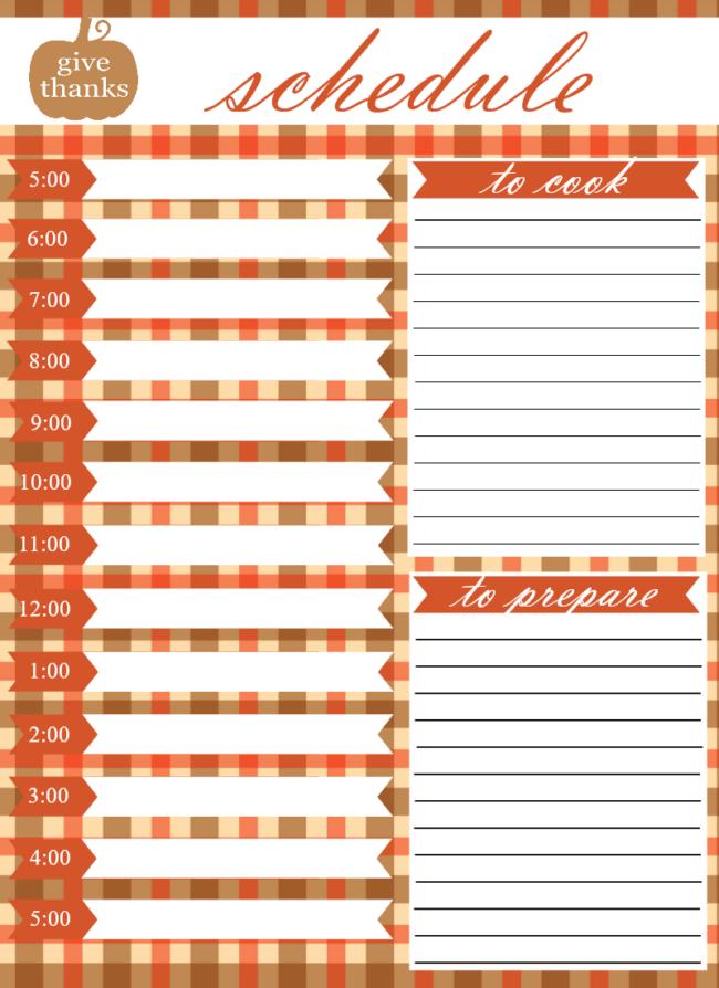 schedule printable