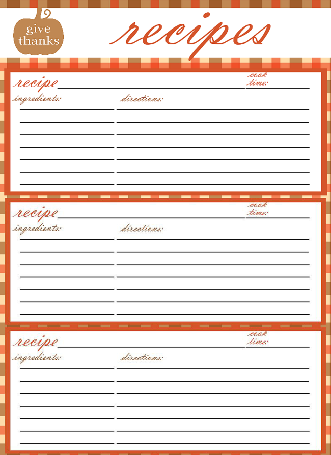 recipes printable