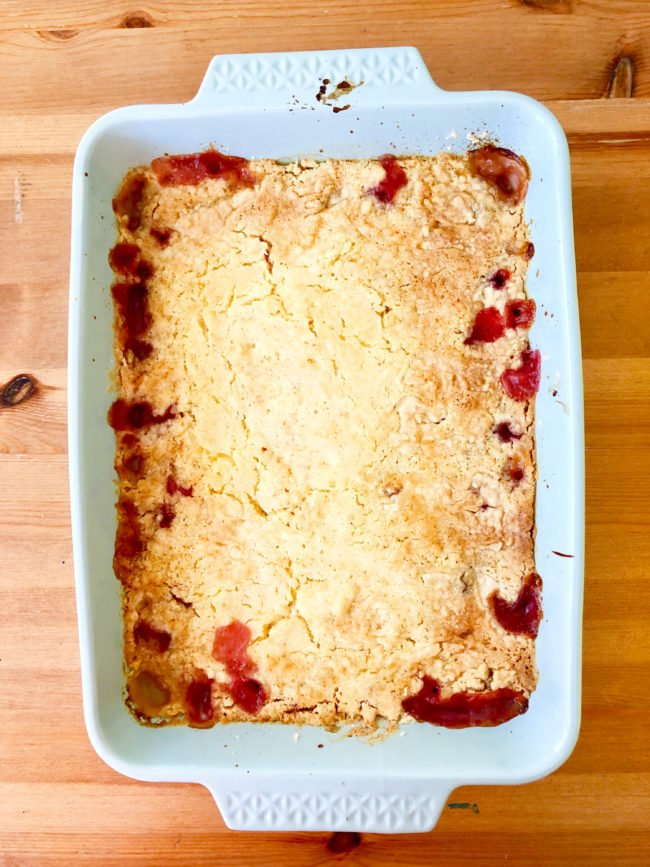 Baked cherry pineapple dump cake from the oven.