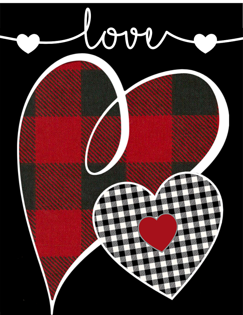 Red Buffalo Check Plaid Heart Free Printable