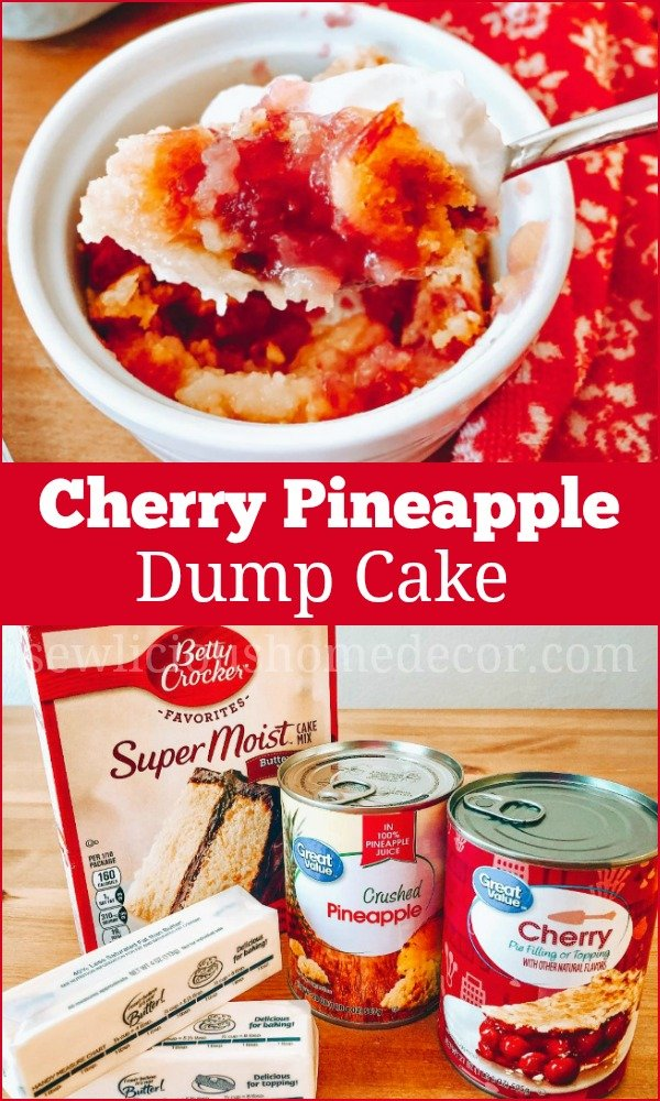 Cherry Pineapple Dump Cake Ingredients Betty Crocker Cake Mix, Pineapples, and Butter Recipe.