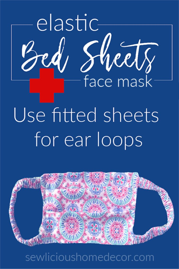 Face mask ear loops made with fitted bed sheets elastic.