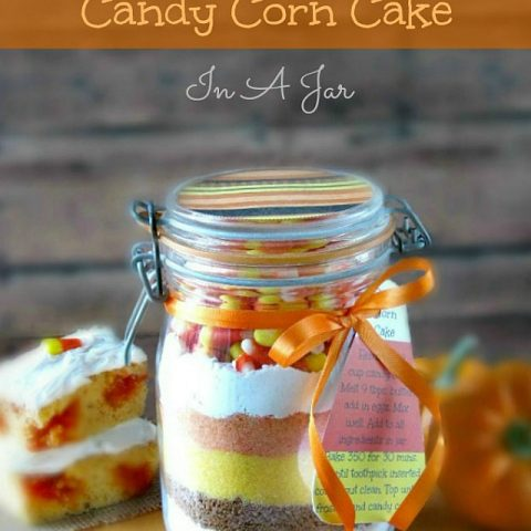 Halloween Candy Corn Cake In A Jar with Free Recipe Tag