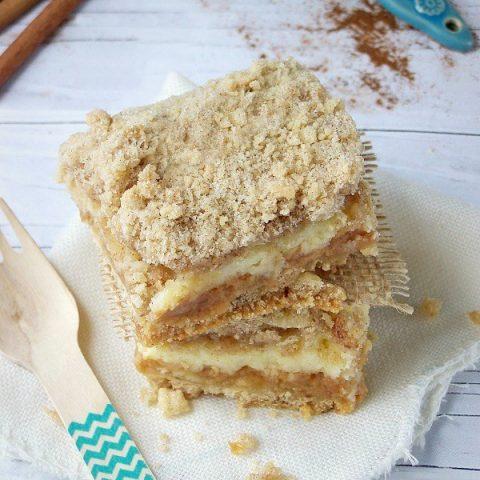 Gooey Caramel Apple Cheesecake Bars with A Shortcake  Crust