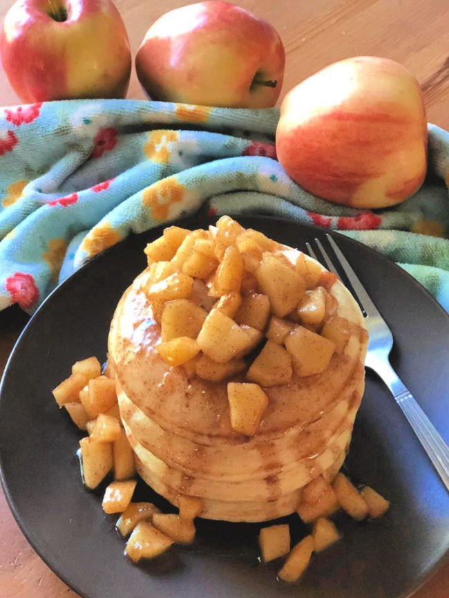 Healthy Skillet Softened Cinnamon Baked Apple Pancakes