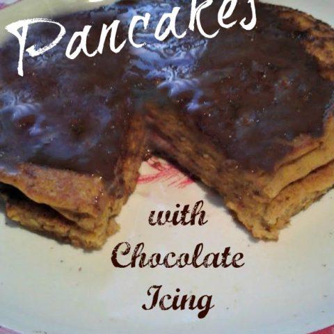 Pumpkin Pancakes with Chocolate Icing {breakfast}