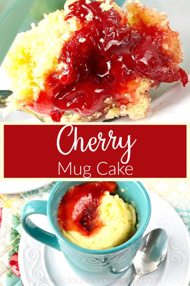 Individual microwaveable cherry cobbler mug cake made with a yellow cake mix and cherry pie filling.