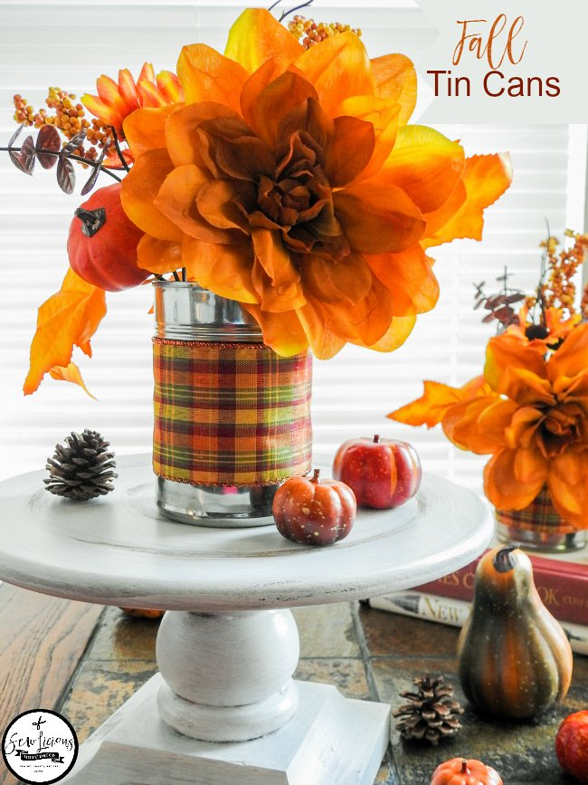 Fall tin cans. Recycle tin cans for Fall home decorating.